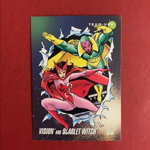Vision and Scarlet witch collectible trading card